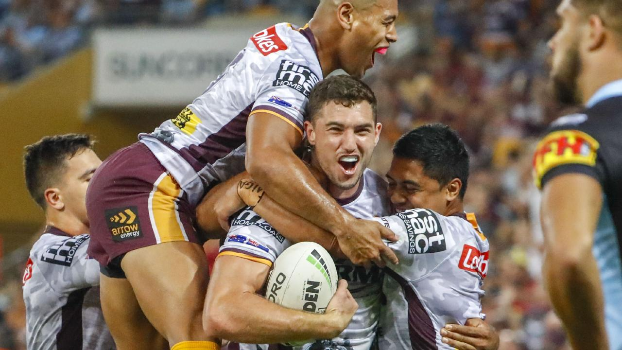 Corey Oates scores against the Sharks. There are still some bright spots in the Broncos' season. Picture: Glenn Hunt/AAP