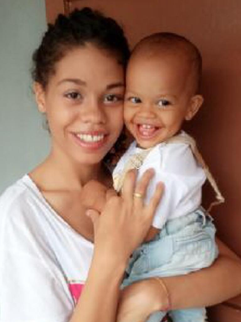 Heather Mack and the couple's baby Stella in Kerobokan jail in late 2016. Picture: Supplied