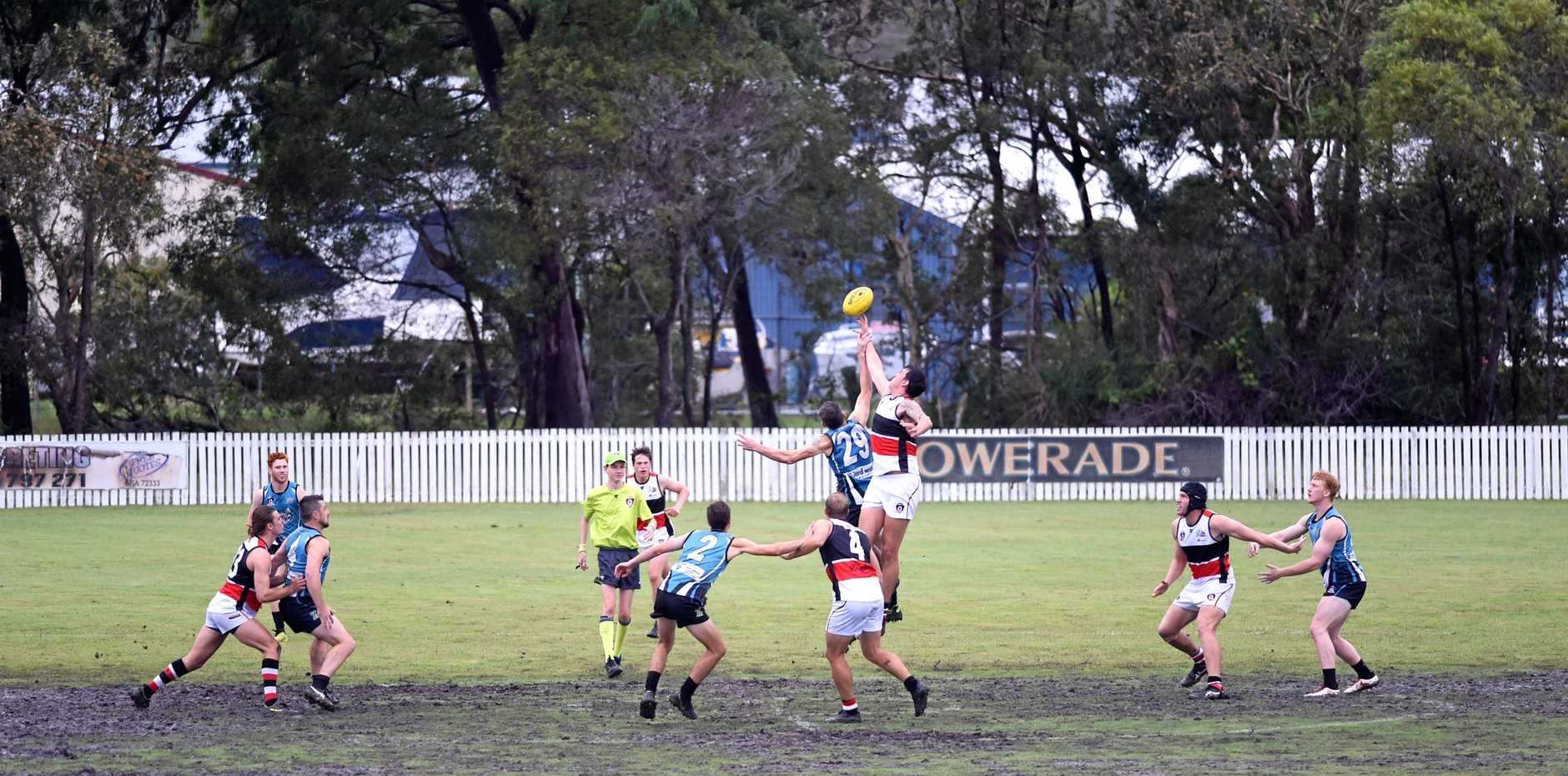 LEAPING HIGH: Bay Power's Shannon Anderson flies high in Saturday's AFL - Wide Bay match between Bay Power and Brothers Bulldogs