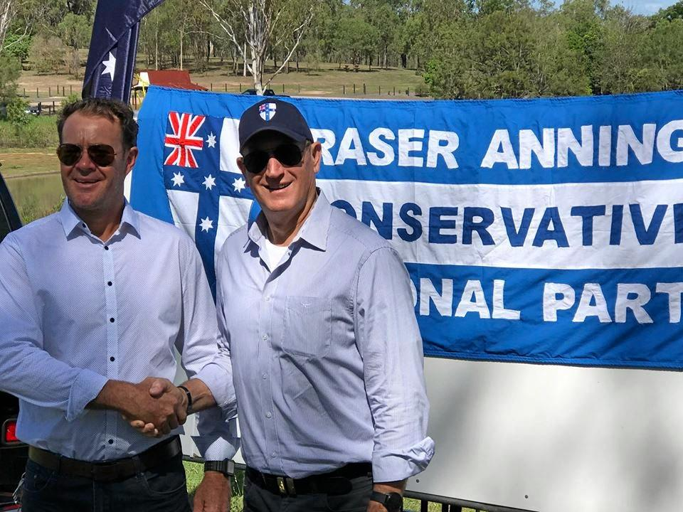 MEETING: Blair candidate Peter Fitzpatrick (left) with party leader Fraser Anning.