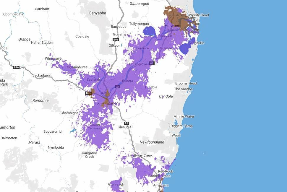 The coverage of NBN service currently available (purple) according to NBN Co on 5th May, 2019.