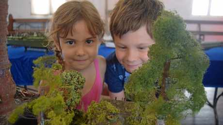 Sam Sutherland, 8, and Nikol Sutherland, 6, visited the Modelcomp display at St Paul's Uniting Church.
