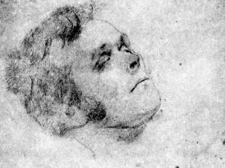 A sketch of convict cannibal Alexander Pearce after his execution in 1824.