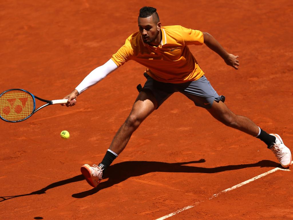 Nick Kyrgios on his way to being outmuscled by the German in straight sets.