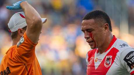 Tyson Frizell was forced off after copping a nasty poke in the eye. Picture: AAP