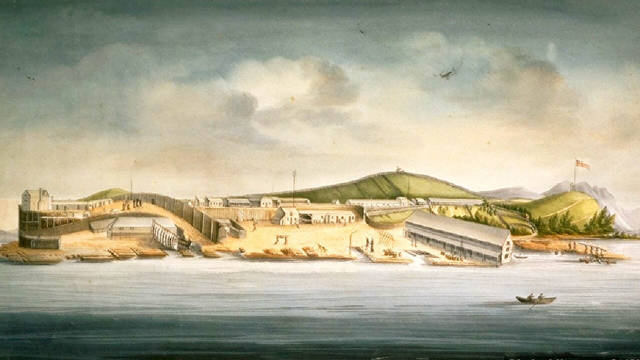 Sarah Island, Macquarie Harbour, 1833, by William Buelow Gould. Irish convict & cannibal Alexander Pearce escaped twice from this Tasmanian location.