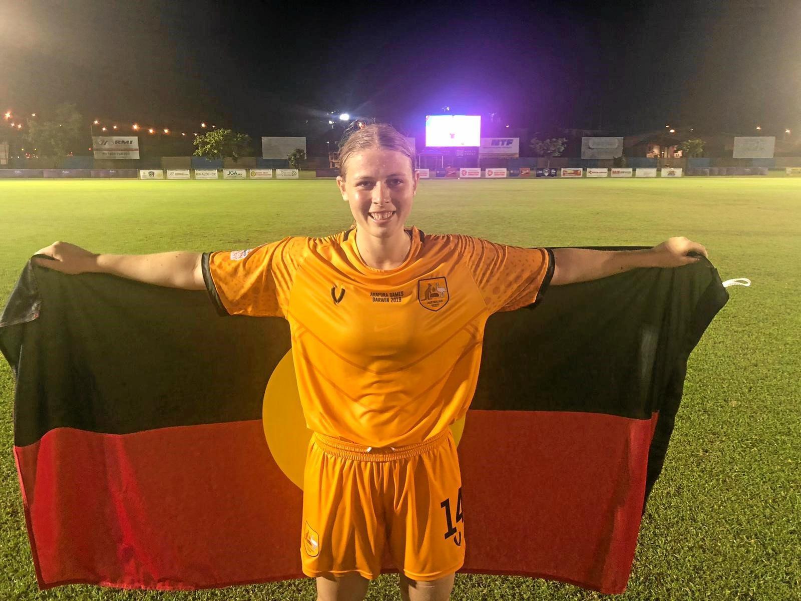 CHAMPION: Bree Pogany played in the winning Koalas Australian Indigenous Football team at the Arafura Games.