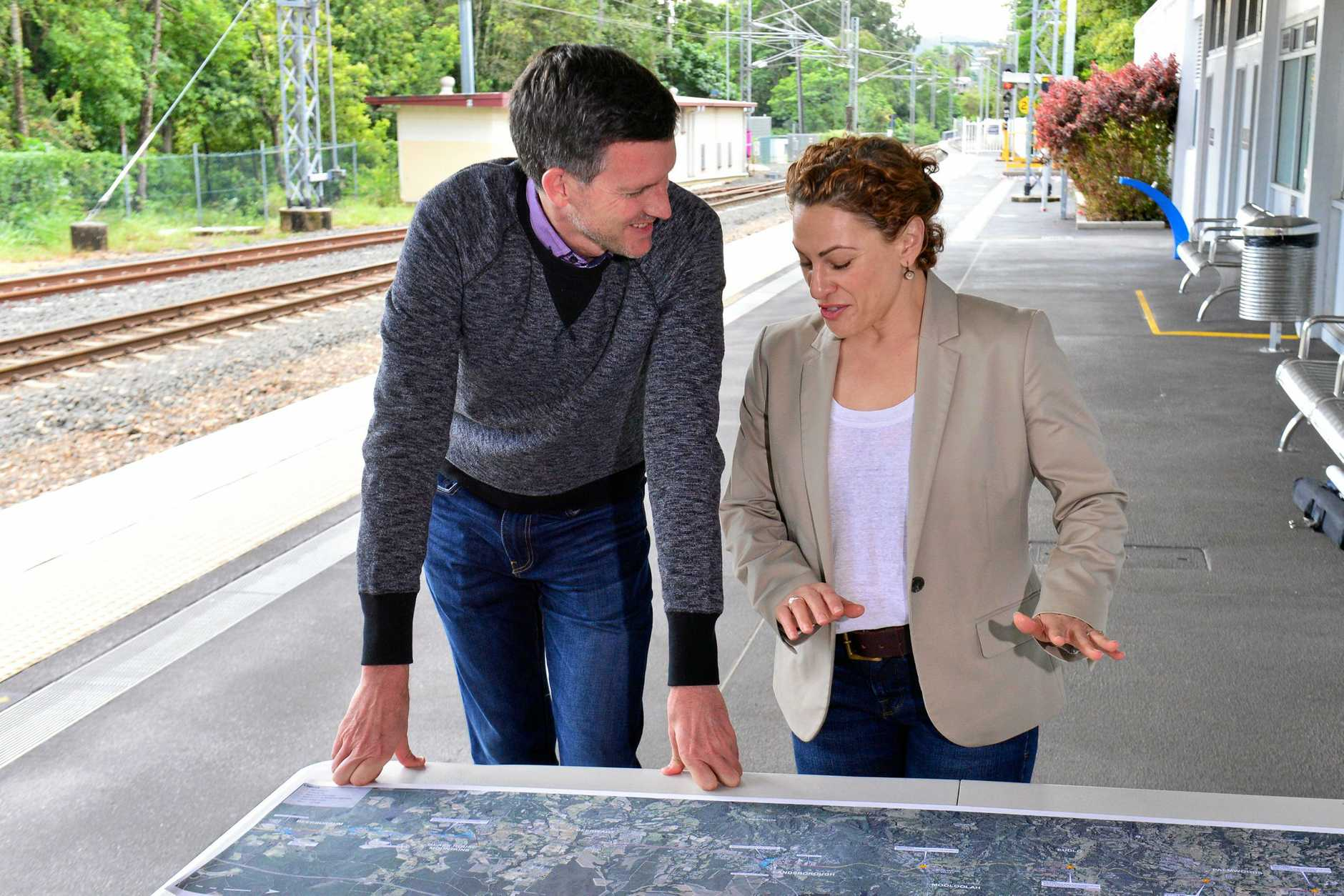 Deputy Premier Jackie Trad and Minister for Transport and Main Roads Mark Bailey in Nambour to announce a $160 million State Government commitment to rail duplication between Nambour and Beerburrum.