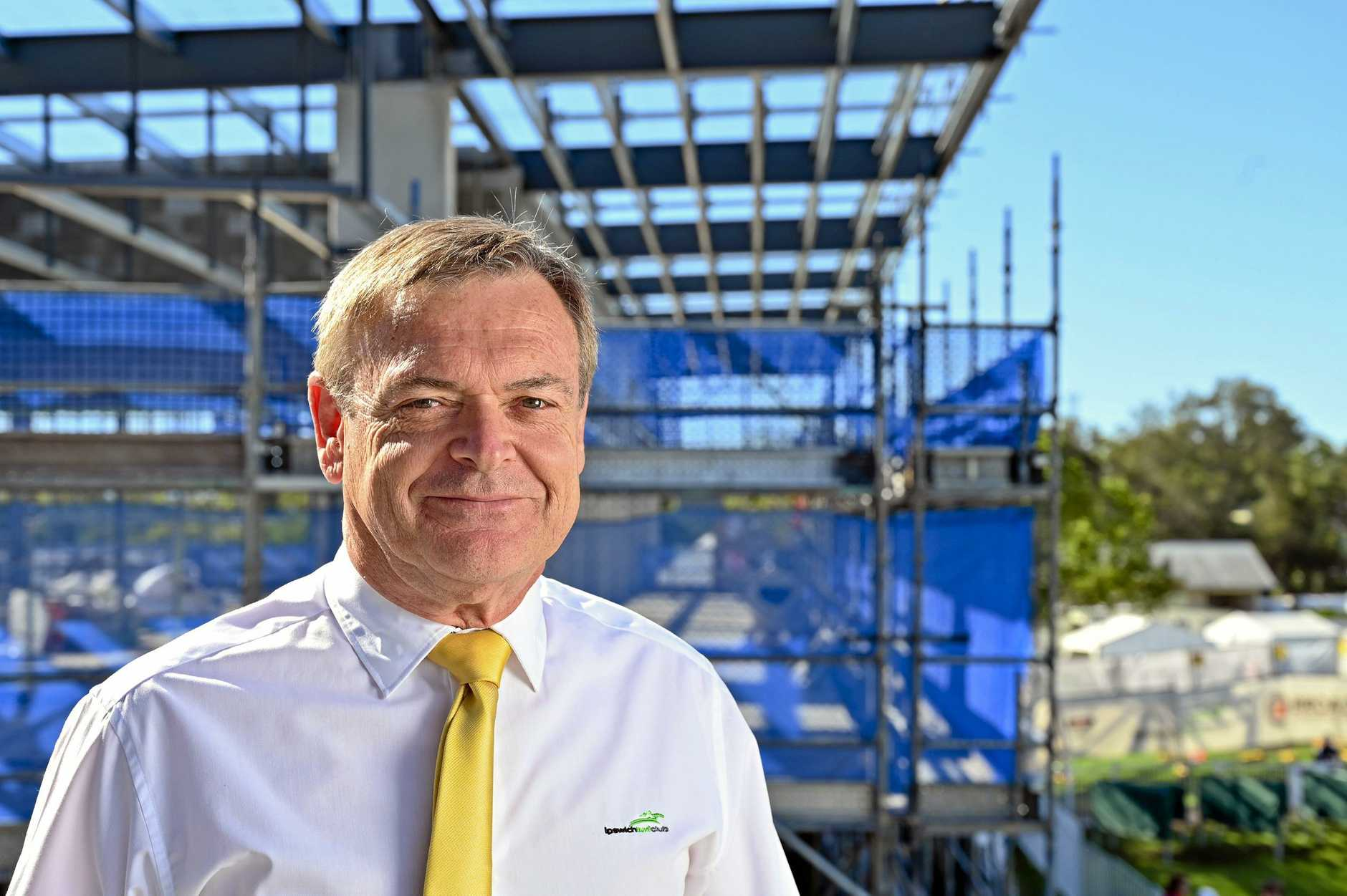 LAST TURN: Ipswich Turf Club General Manager Brett Kitching shows off the progress of the new construction at Bundamba.