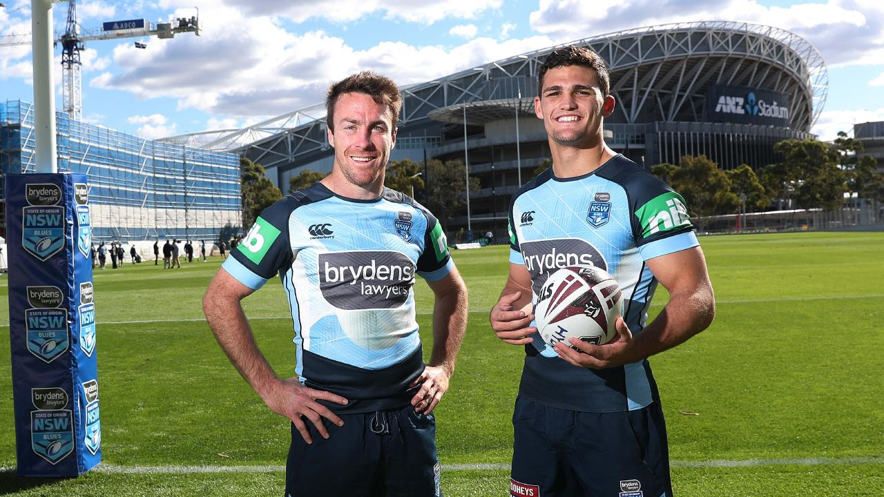 James Maloney and Nathan Cleary after NSW State of Origin training at the new NSWRL Centre of Excellence training ground at Homebush. Picture. Phil Hillyard