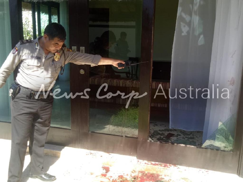 Police at the scene at the Hillstone Villas Resort in Ungasan, Bali, where Australian DJ Adam Gary Neat, known professionally as Adam Sky, crashed through a glass door, severing an artery. Picture: Supplied