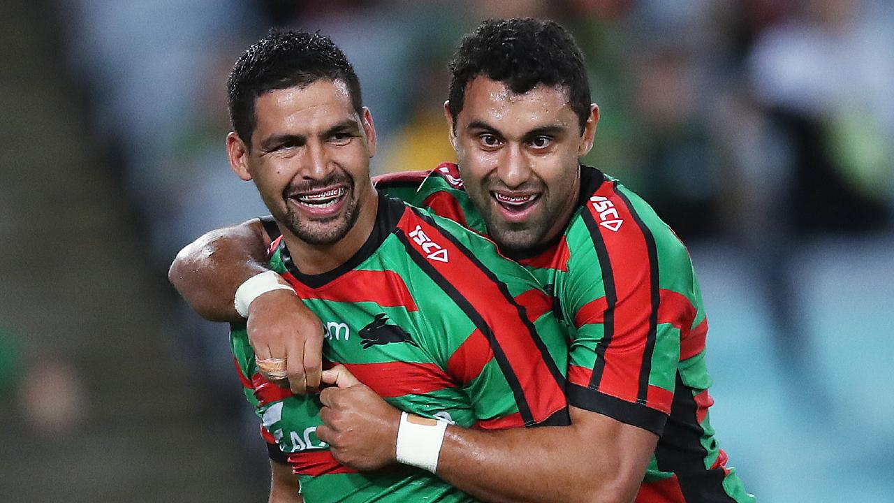 Cody Walker celebrates a try with Rabbitohs teammate Alex Johnston. Picture: Phil Hillyard