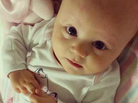 Baby Harper Rollinson was just 12 days old when she underwent chemotherapy.