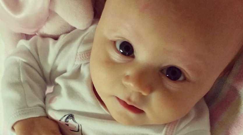 Baby Harper Rollinson when she was undergoing chemotherapy.