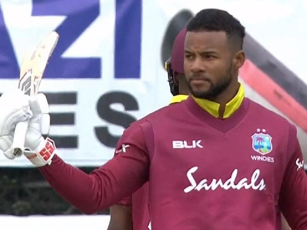 Shai Hope scores his fifth ODI hundred.