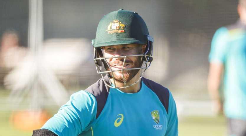 Australian Cricketer David Warner is seen at a World Cup Training Camp at Allan Border Field, Brisbane, Sunday, May 5, 2019. (AAP Image/Glenn Hunt) NO ARCHIVING