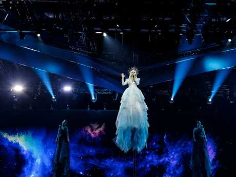 Miller-Heidke has been rehearsing for months for his acrobatic debut in Tel Aviv. Picture: Eurovision.tv