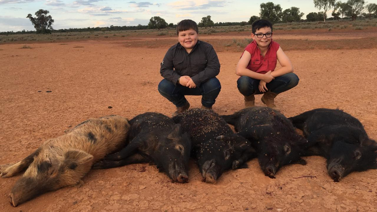 Farm kids with feral pigs that were shot on the farm. Picture: Supplied