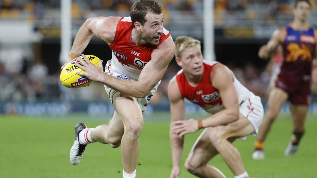 Harry Cunningham was injured during Sydney Swans loss to Brisbane Lions. Picture: AAP Image/Glenn Hunt.