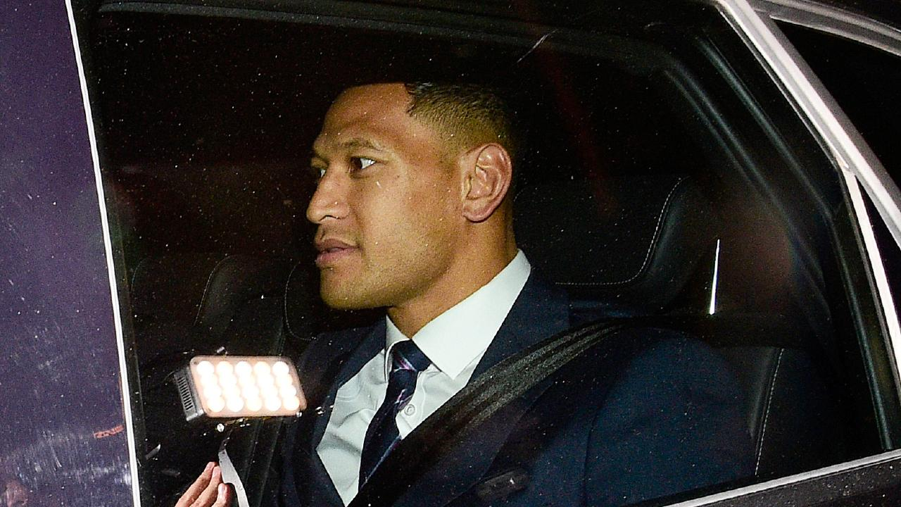 Israel Folau leaves the Rugby Australia code of conduct hearing in Sydney. Picture: AAP