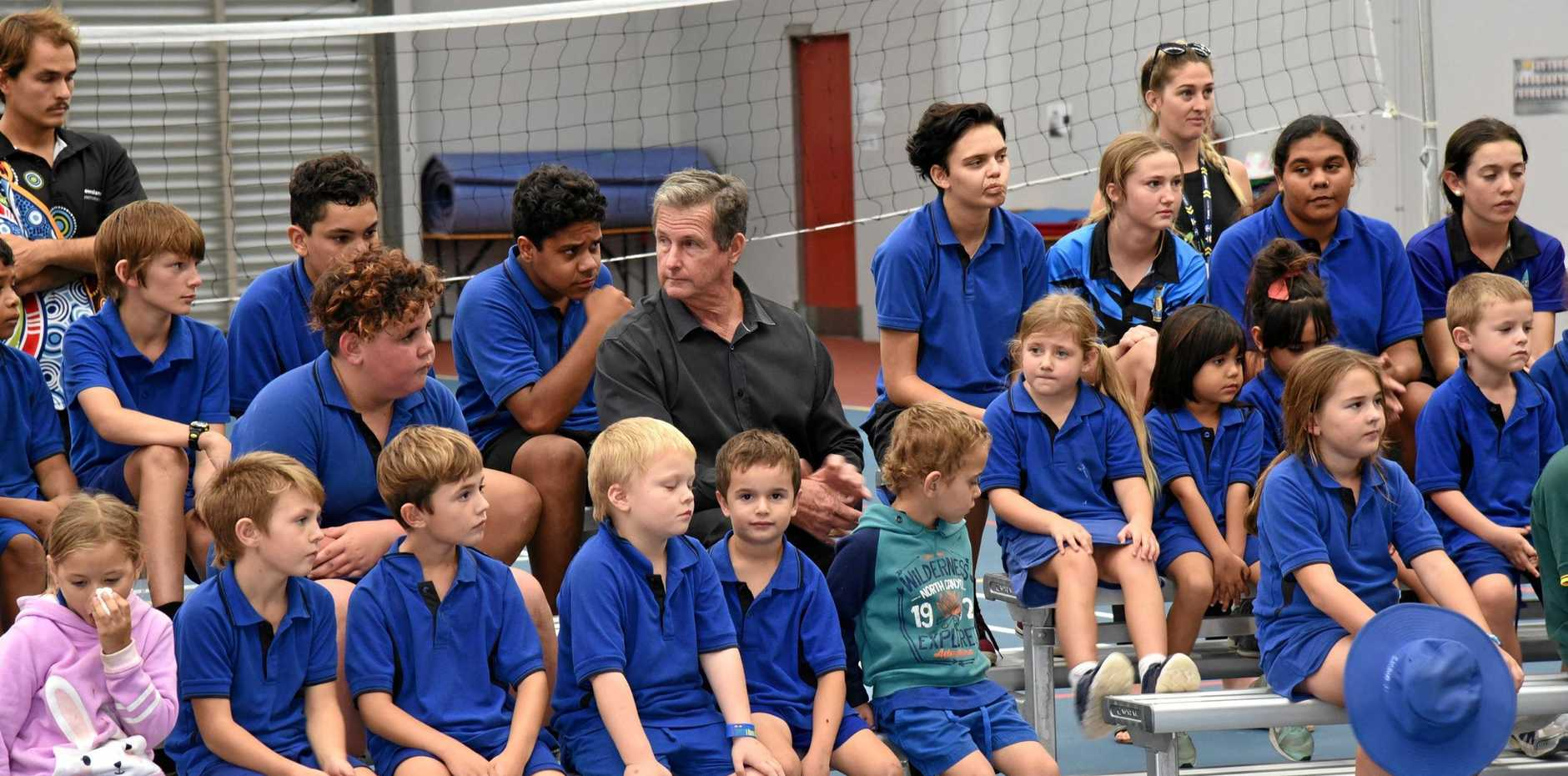 LEAVING: Eidsvold State School principal Graeme Weatherburn at his farewell assembly on Friday.