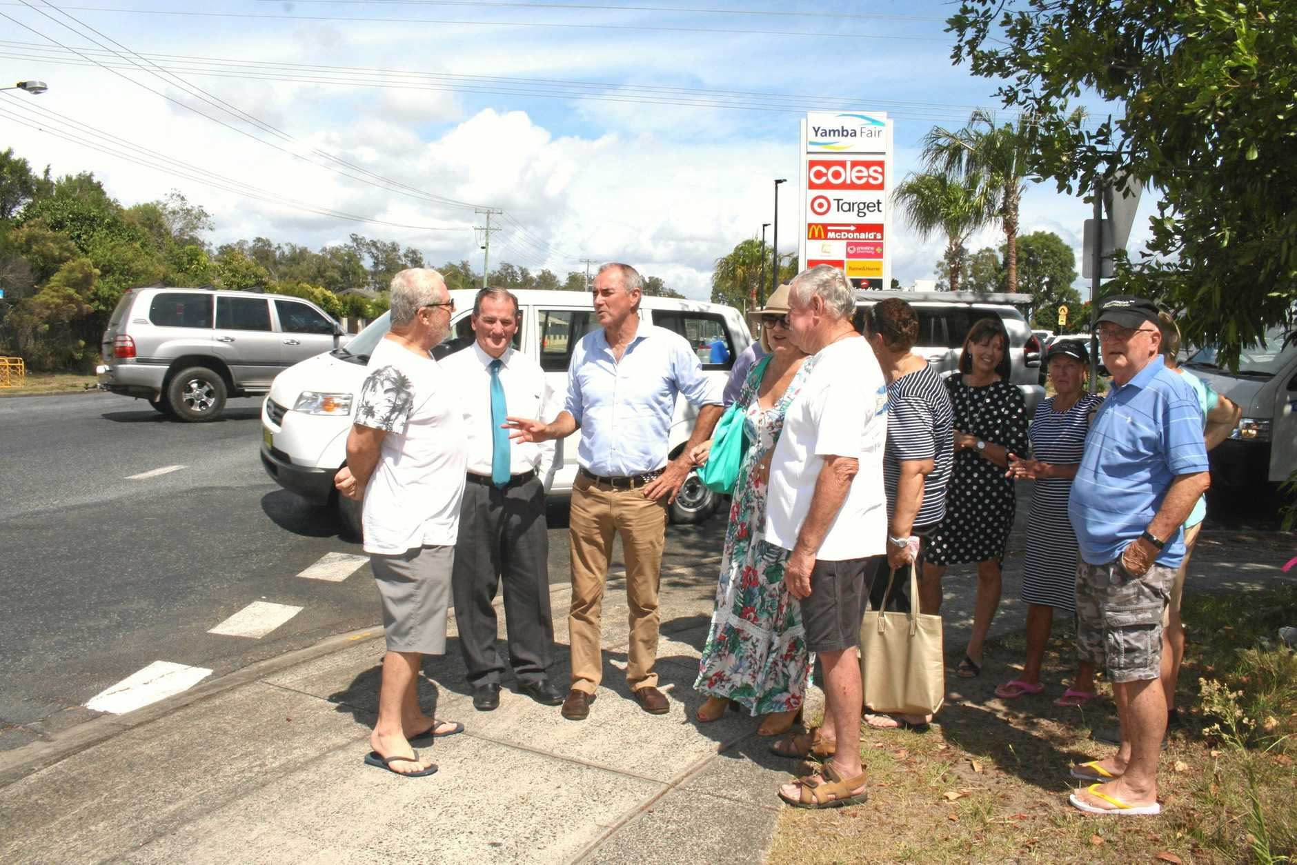 Member for Clarence Chris Gulaptis and Clarence Valley Mayor Jim Simmons with Yamba residents for the $4.4 million announcement.