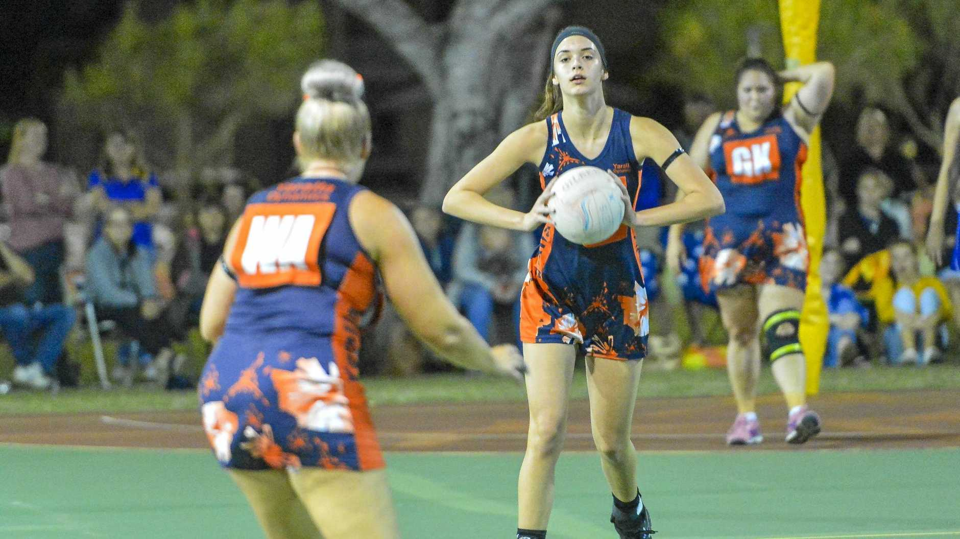 Yaralla Falcons' Abbi Cooper about to pass in last year's grand final. Falcons is one of several Gladstone clubs that can enter the 2019 Australia Post One Netball Community Awards.