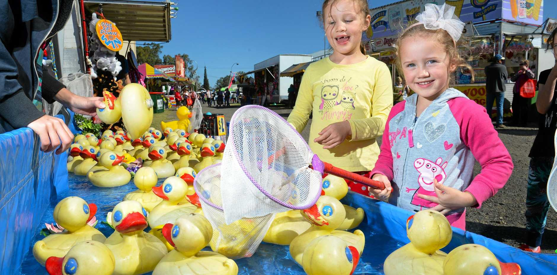 FAMILY FUN: Zoe and Emma at the Marburg Show last year. Little ones can expect even more this year.