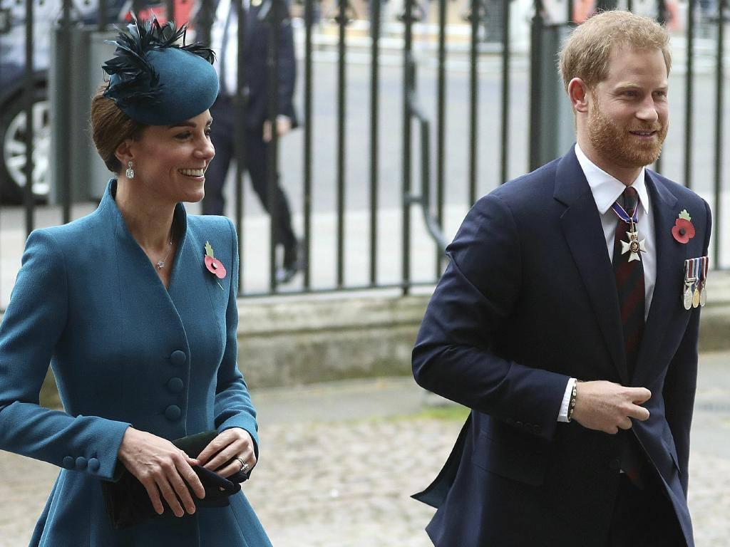 Prince Harry and Kate's cheerful display at the Anzac Day Service at London's Westminster Abbey suggested an improvement in relations. Picture: Andrew Matthews/PA via AP