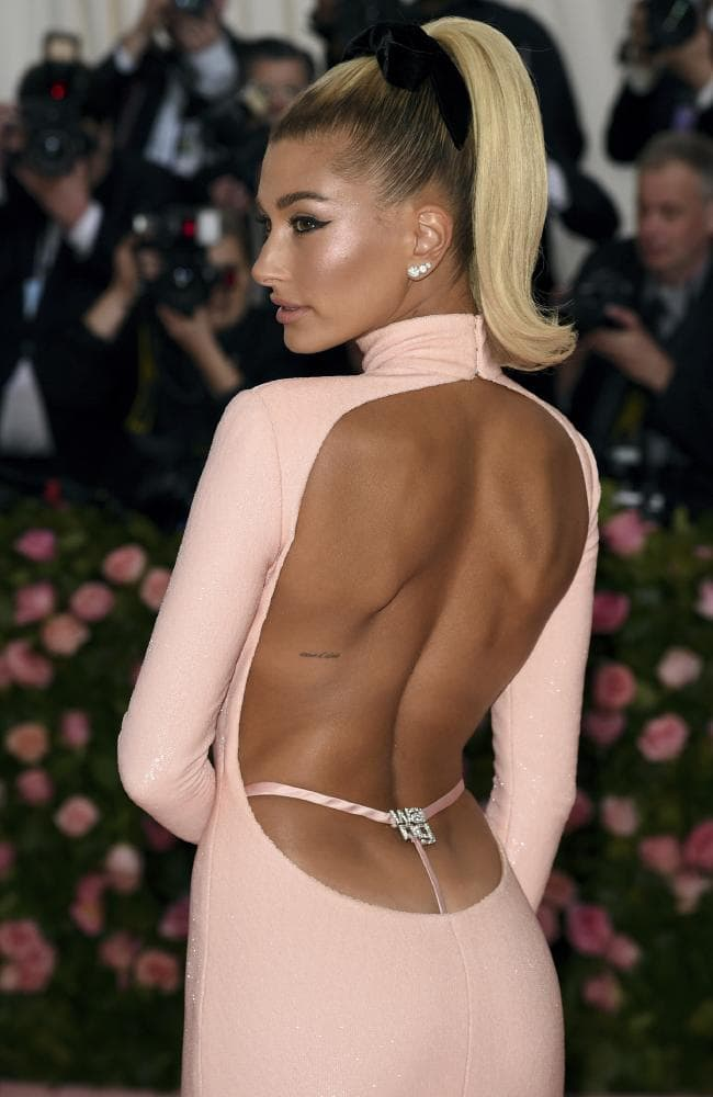 Showing off! Hailey Bieber is pretty in pink. Picture: AP