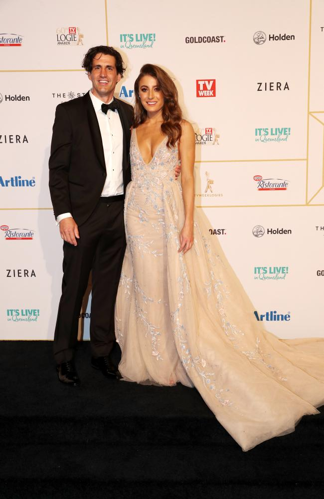 Andy Lee and Rebecca Harding at last year's Logies. Picture: Nigel Hallett
