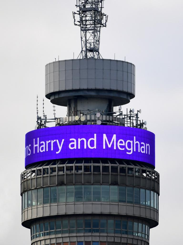 The BT Tower displays a celebratory message following the royal birth. Picture: Getty Images