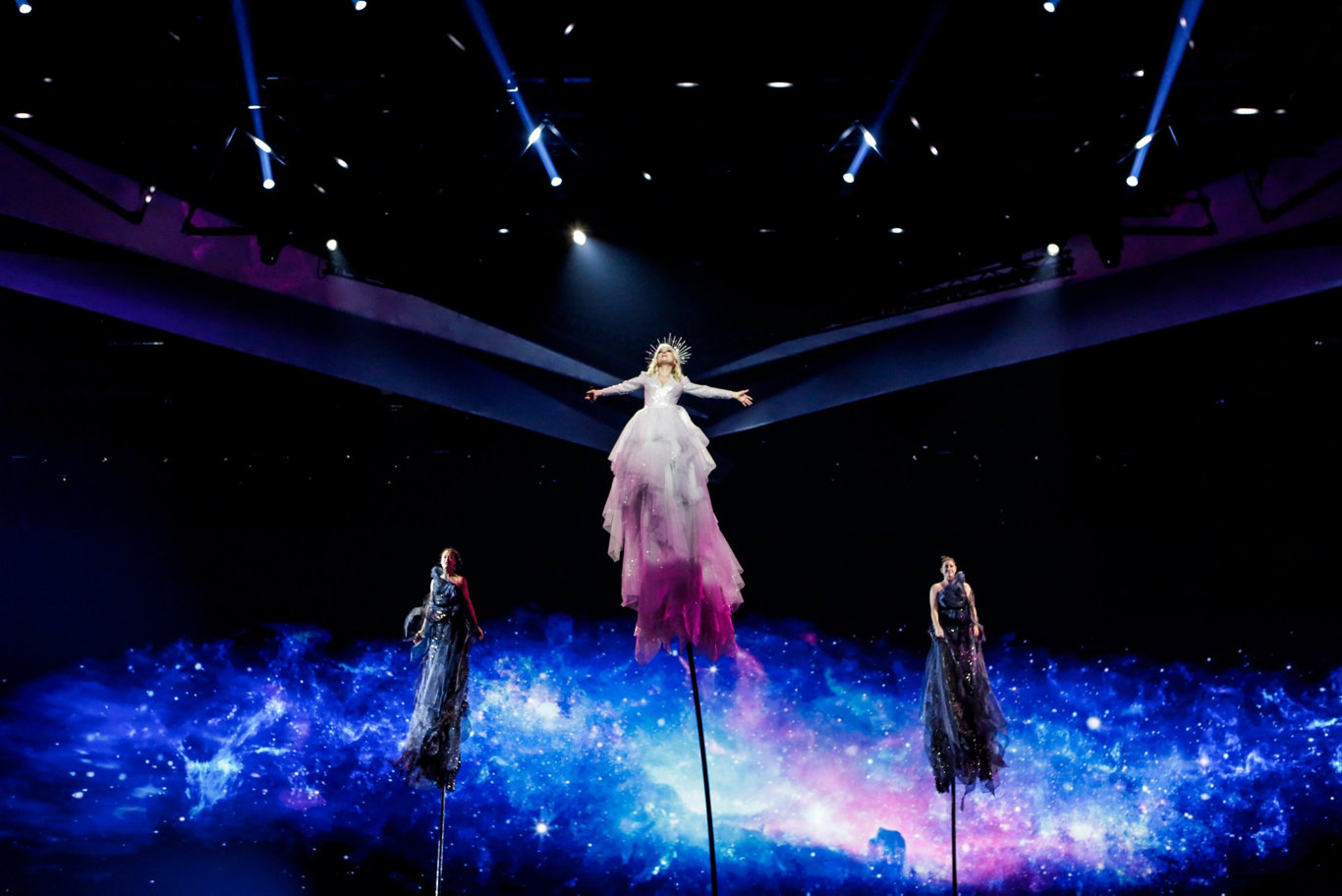 Australia's Kate Miller-Heidke rises up in her first rehearsal for Eurovision 2019, Tel Aviv, Israel. Supplied by Eurovision.tv.