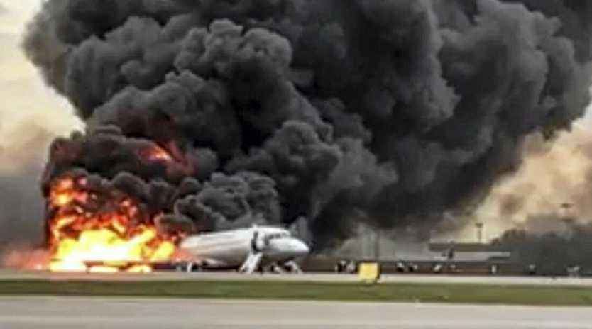 The Sukhoi SSJ100 aircraft of Aeroflot Airlines on fire, at Sheremetyevo airport, outside Moscow, Russia. At least 40 people died when an Aeroflot airliner burst into flames while making an emergency landing at Moscow's Sheremetyevo airport, officials said early Monday.