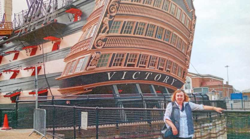 SHAKING THE FAMILY TREE: Sunshine Coast woman Kay Middlemiss at the site of an historic ship,  HMS Victory  at Portsmouth, and at a castle in the Highlands of Scotland.