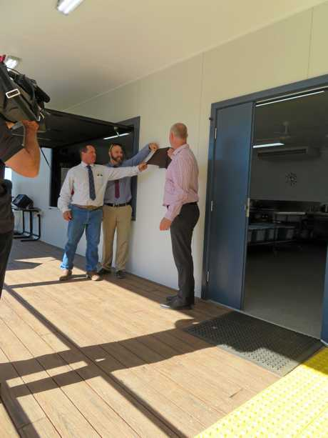 Ambrose State School P&C president Graham Adams, Ambrose SS principal Andrew Collis and Gladstone MP Glenn Butcher at the official opening of the school's new tuckshop.