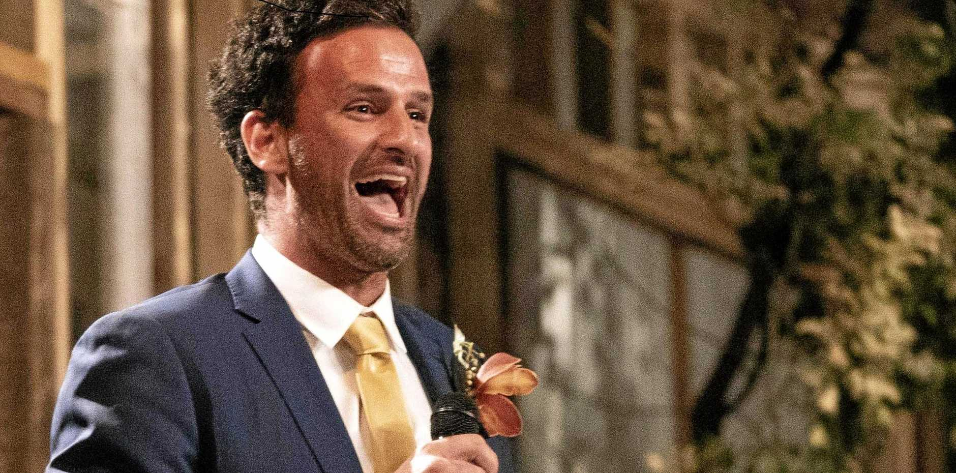 Gympie's Mick Gould during his wedding reception in a scene from Married at First Sight.