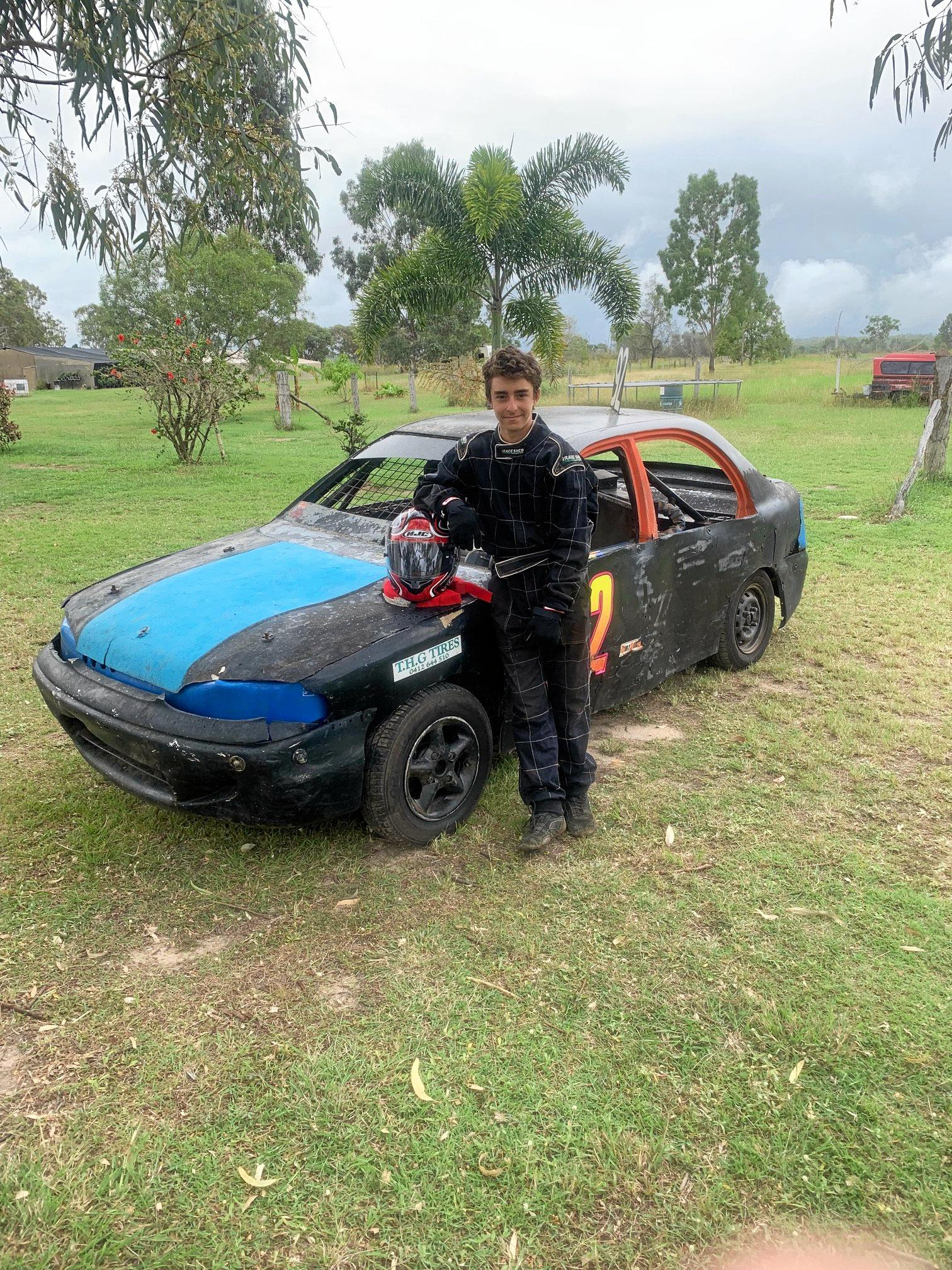 Bailey King with his Hyundai Excel