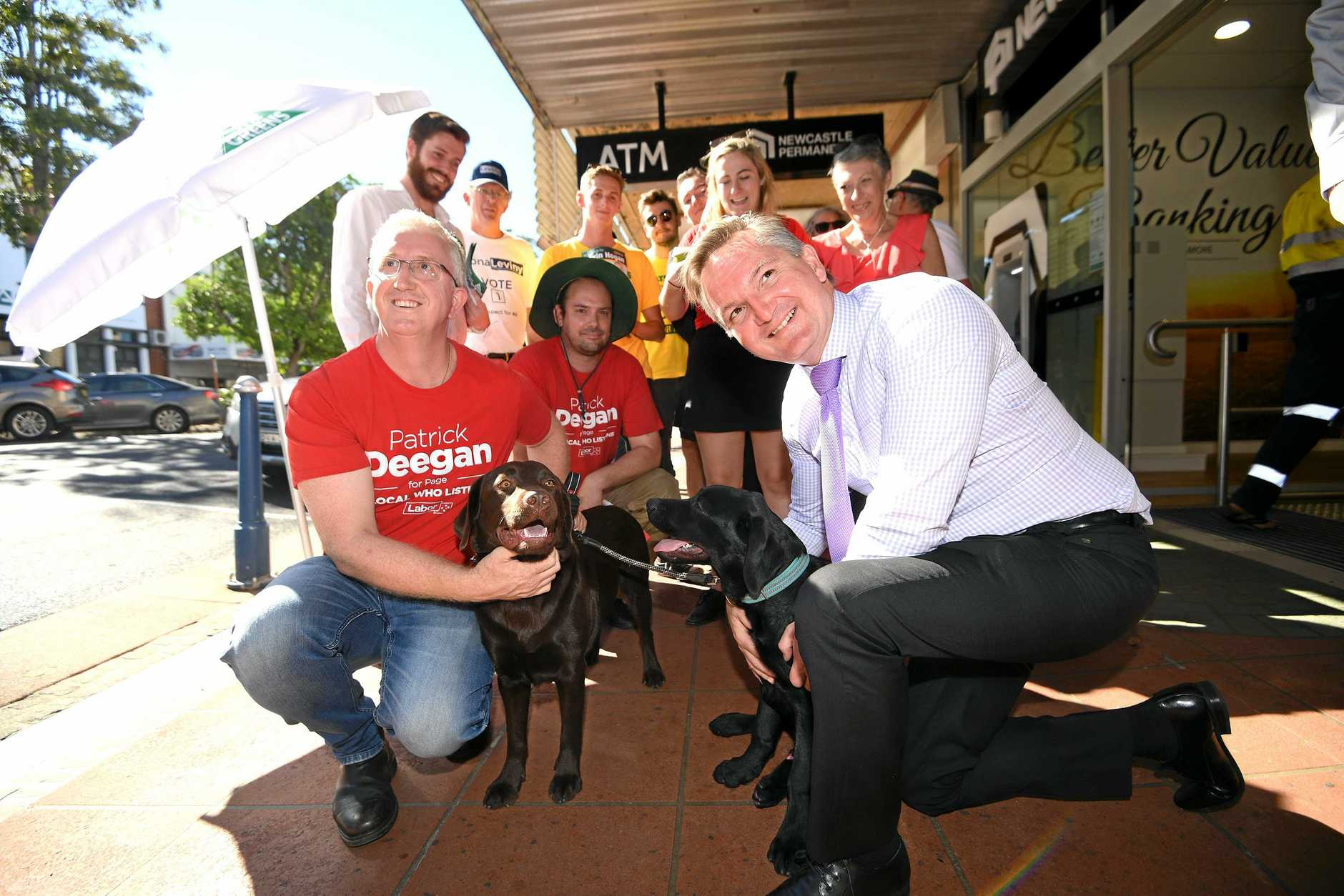 RUFF DAY: The Shadow Treasurer Chris Bowen visits Lismore with Labor's candidate for Page Patrick Deegan .