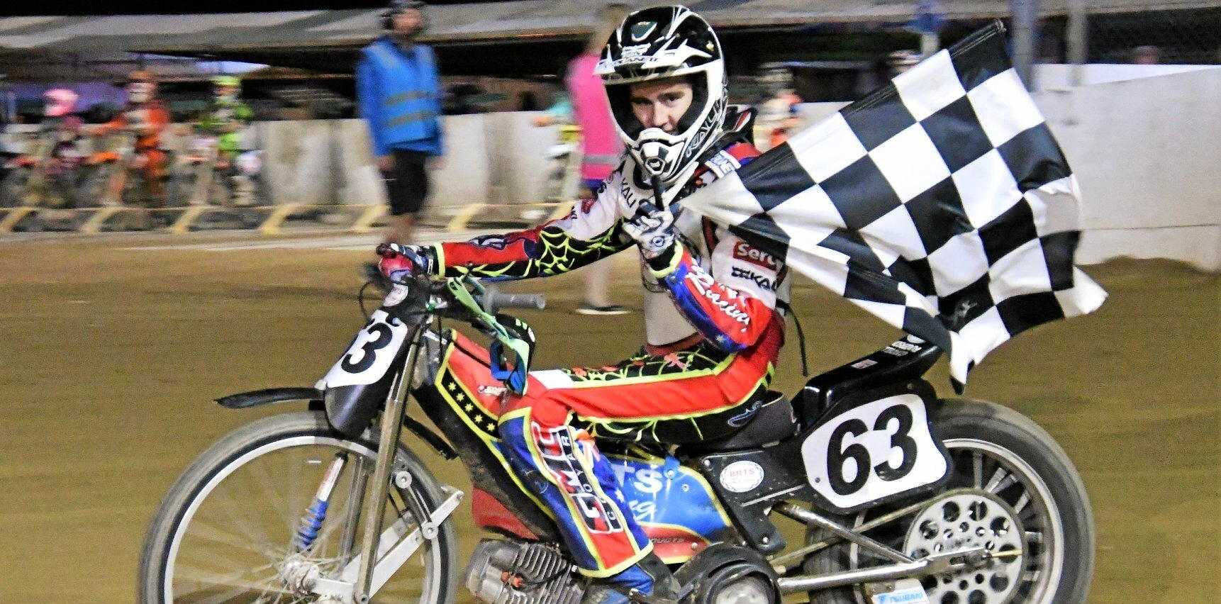CHAMPION: Cordell Rogerson took out the Queensland longtrack 500cc slider title.