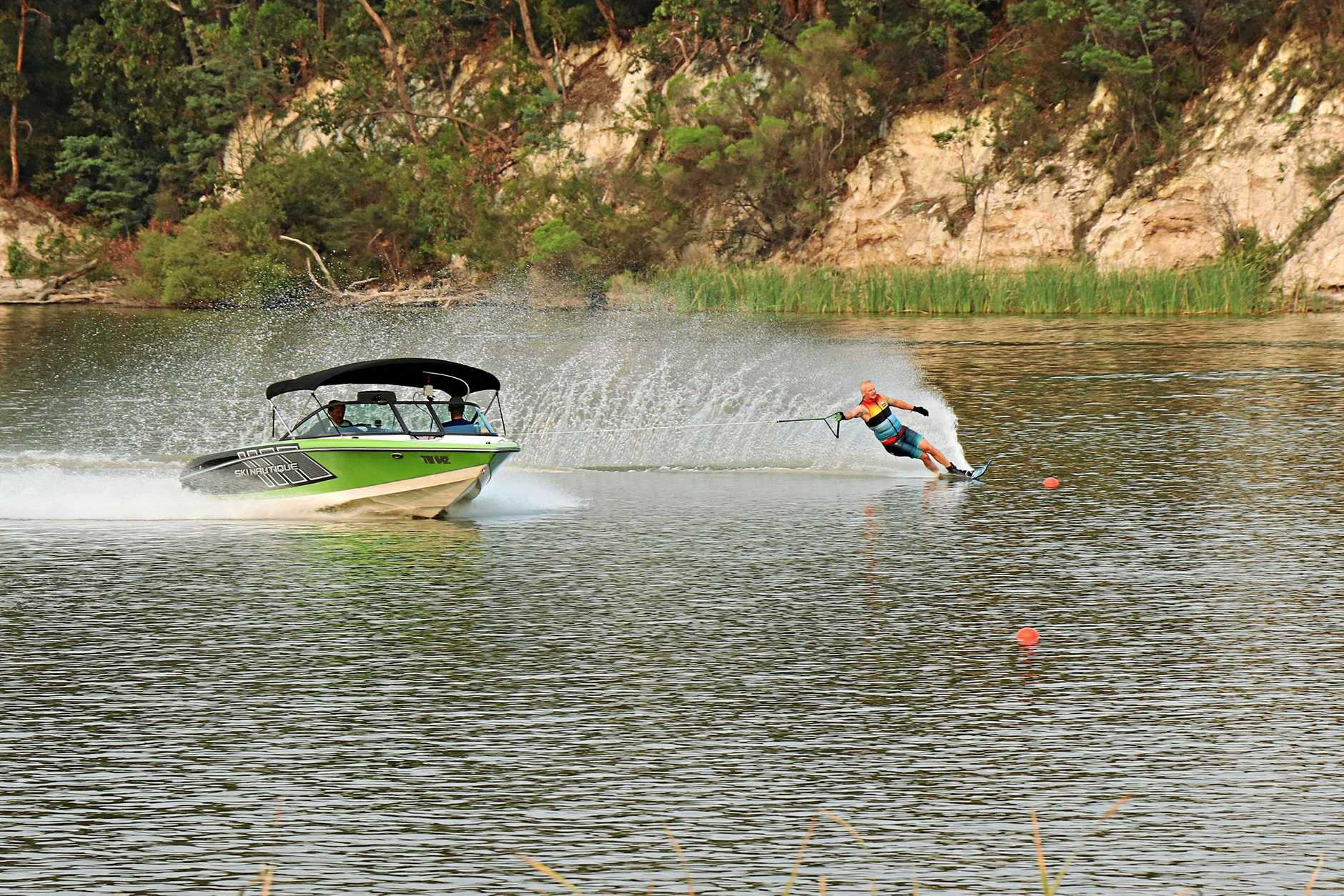 ON THE WATER: Toowoomba's Brad Williams brushes up on his skills at Perseverance Dam.