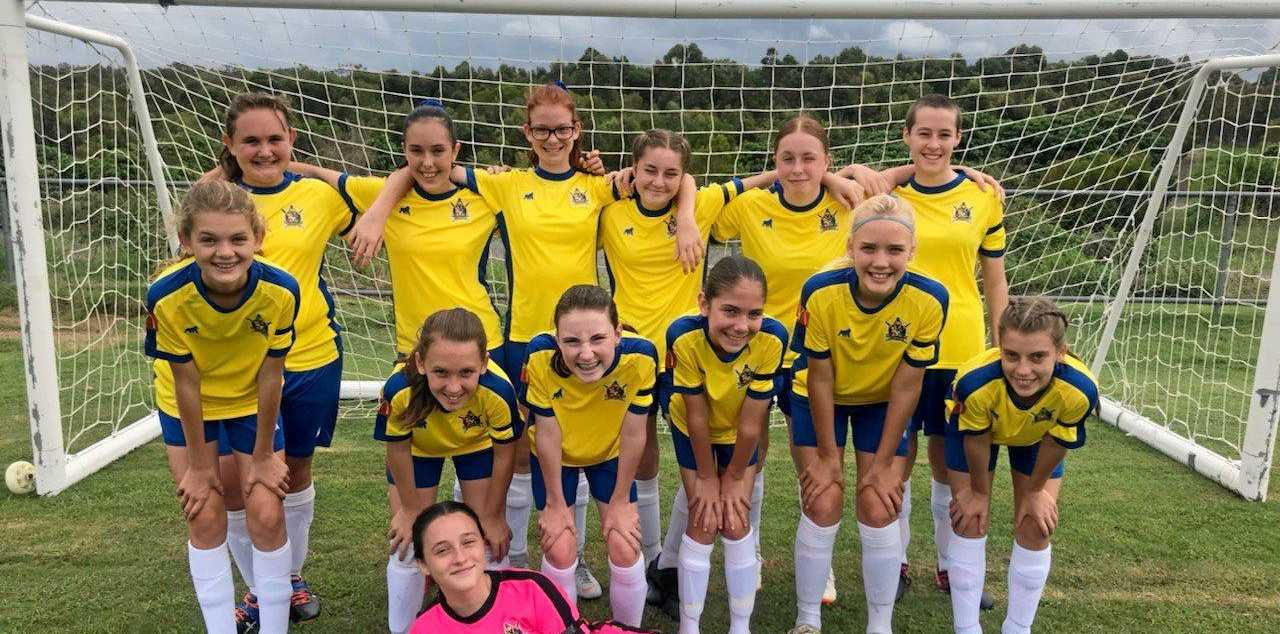 WINNERS: The Gympie United under-14 squad are (back from left) Taylim Bellingham, Bridget Mackay, Liyah Curtain, Takaylee Bennett-Treeby, Josie Mason and Isla Faulds. (Middle from left) Isabella Walker, Leila Metcalfe, Greta Chapman, Mia Albion, Charlotte Klein, Madelyn McDonald. (Front) Annalise Smart.Absent were Jenna Williams and Hasini Maheepala.
