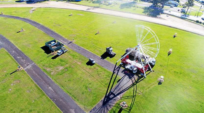 Drone shot of the ferris wheel under construction at the Gympie Showgrounds this week.