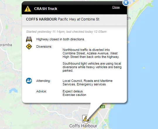 The Pacific Highway is blocked in both directions through the centre of Coffs Harbour.