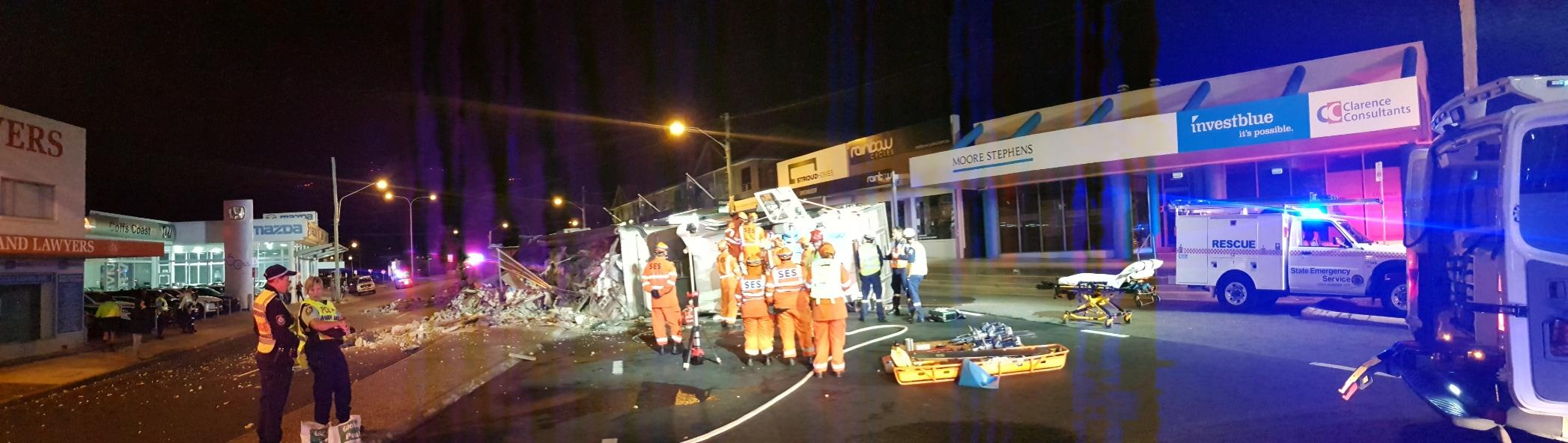 The Pacific Highway is blocked in the centre of Coffs Harbour between Combine St and West High St after the b-double rollover outside the Coffs Hotel.