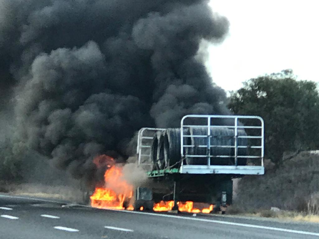The trailer fire burning at Coomandook. Picture Patrick Clark