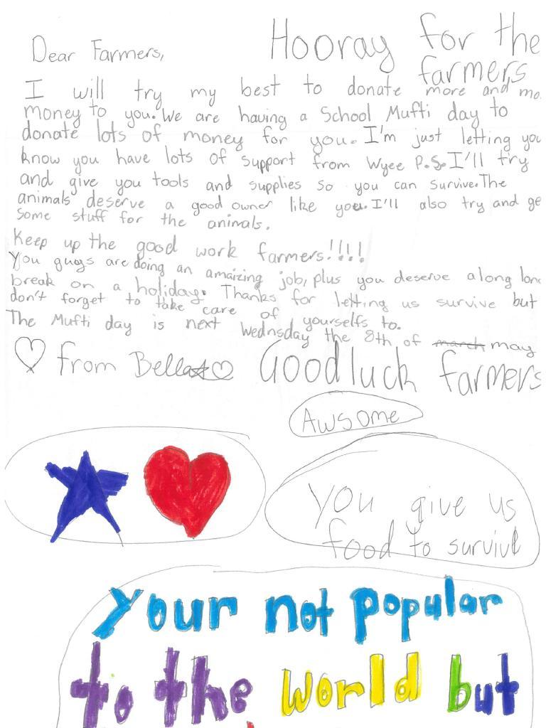 A letter written by Bella from Wyee Public School to farmers.