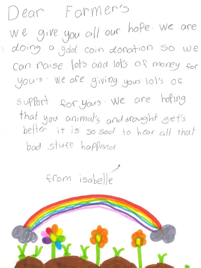 A letter written by Isabelle from Wyee Public School to farmers.