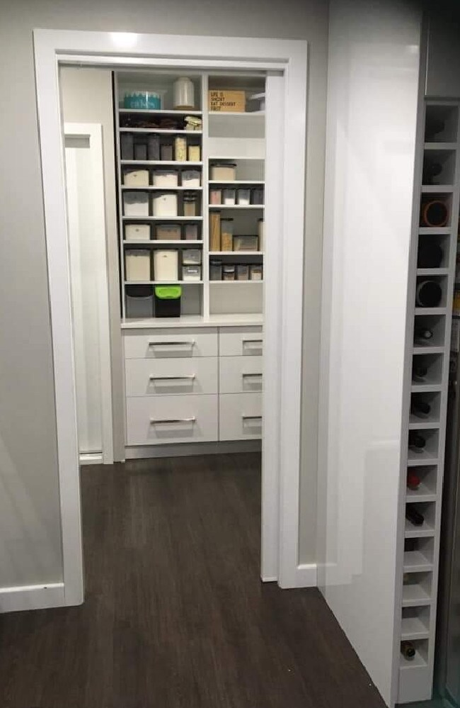 Emma's dream walk-in pantry has a sliding door, connecting it to the kitchen and laundry.