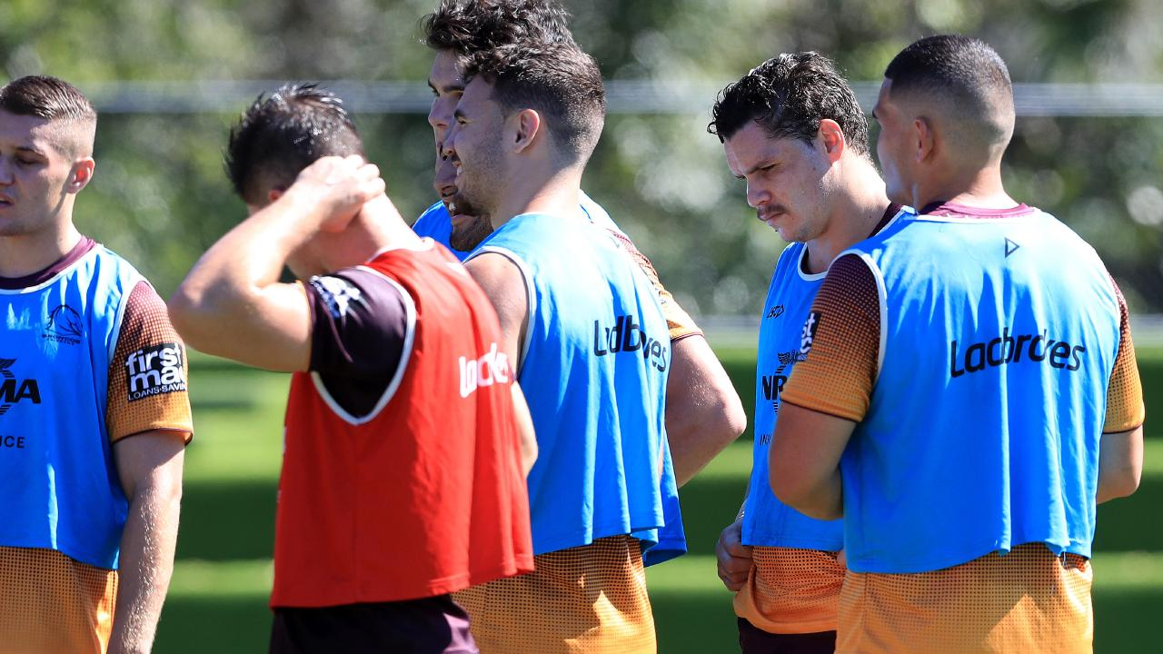 James Roberts wears the blue vest at training this week. Picture: Adam Head